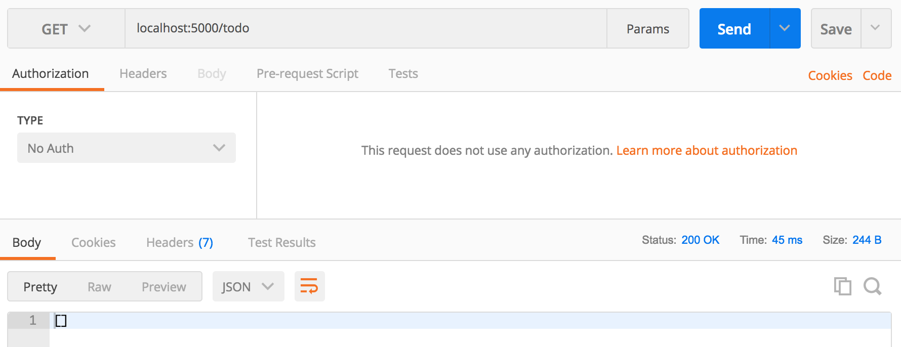 Empty Array response in Postman